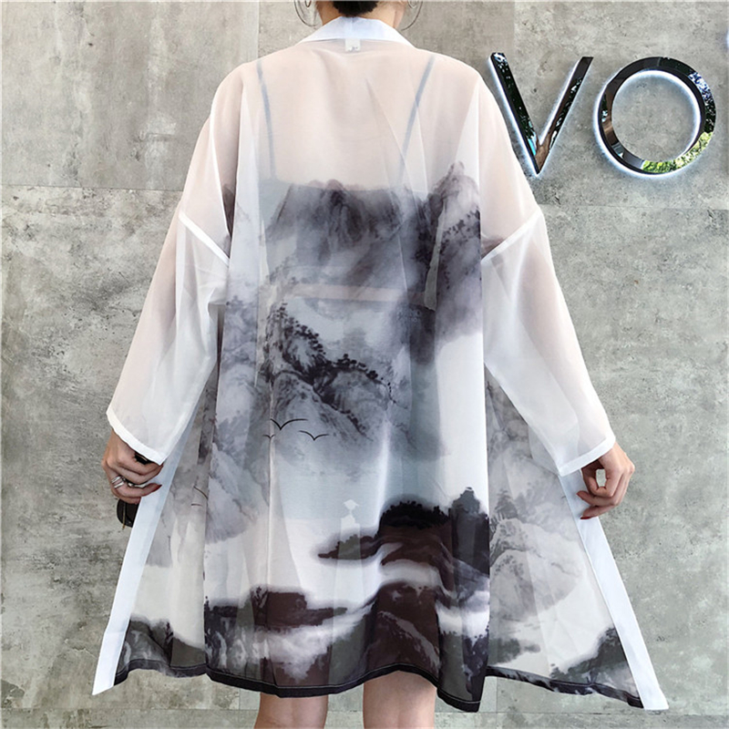 Summer Beach Japanese Traditional Kimono Sunblock Thin Long Robe Cardigan Chinese Oriental Ink Painting Haori Fashion Outfits