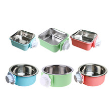 Pets-Supplies Dog-Bowl Hanging Cats Travel Stainless-Steel Water Pet-Feeder Feeding-Dish