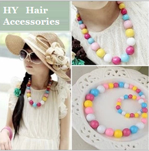 1 Set/lot National Style Acrylic Necklace Bracelet Set Girls Bohemian  Candy Color Beaded Hairbands