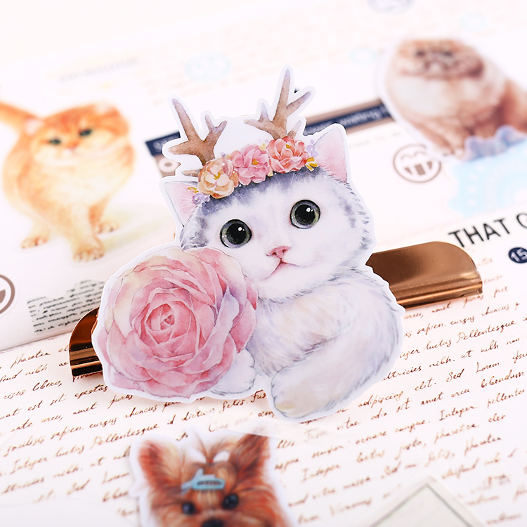 14pcs Cute Cartoon Animal Cat And Dog 2 Stickers DIY Laptop  Kids Waterproof DIY Decals Sticker For Fridge Suitcase Stationery