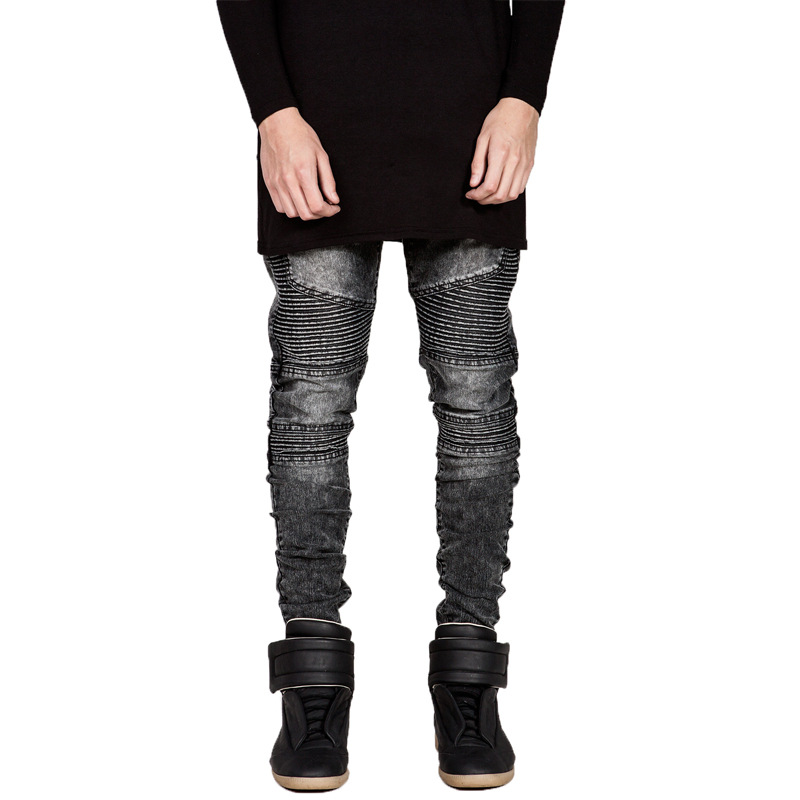 Wrinkle Trend Jeans Europe And America Locomotive American JEANS High Street Men's Four Seasons Slim Fit Perfect Version Type Pa