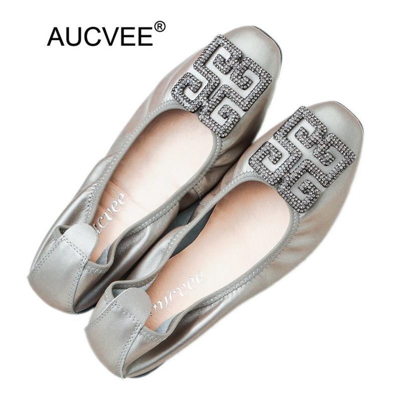 Zapatos de mujer de diamantes de imitación de marca de lujo cómodos zapatos planos de cuero genuino de Mujer Zapatos casuales de Ballet de tamaño plano 43