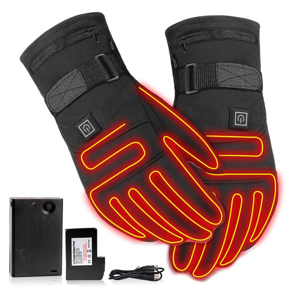 Перчатки с подогревом 3,7 в, водонепроницаемые перчатки с подогревом и сенсорным экраном, на батарейках, для мотоцикла, охоты, рыбалки, катани...