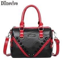 DIINOVIVO Rivet Women PU Leather Bag Handbags Soft Ruched Designer Messenger Shoulder Ladies Hand Bags WHDV1273
