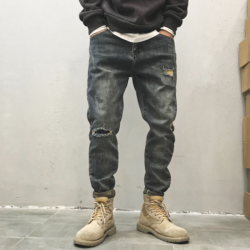 Europe Distressed Ripped Hole Jeans Ankle-length Blue Grey Slim Pencil Pants Straight Trousers Fashion City Streetwear Autumn