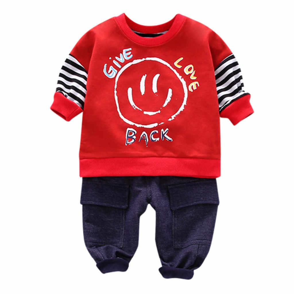 かわいい子供衣類キッズボーイ服冬の男の子ストライプ漫画のプリント長袖プルオーバースウェットシャツパンツ服