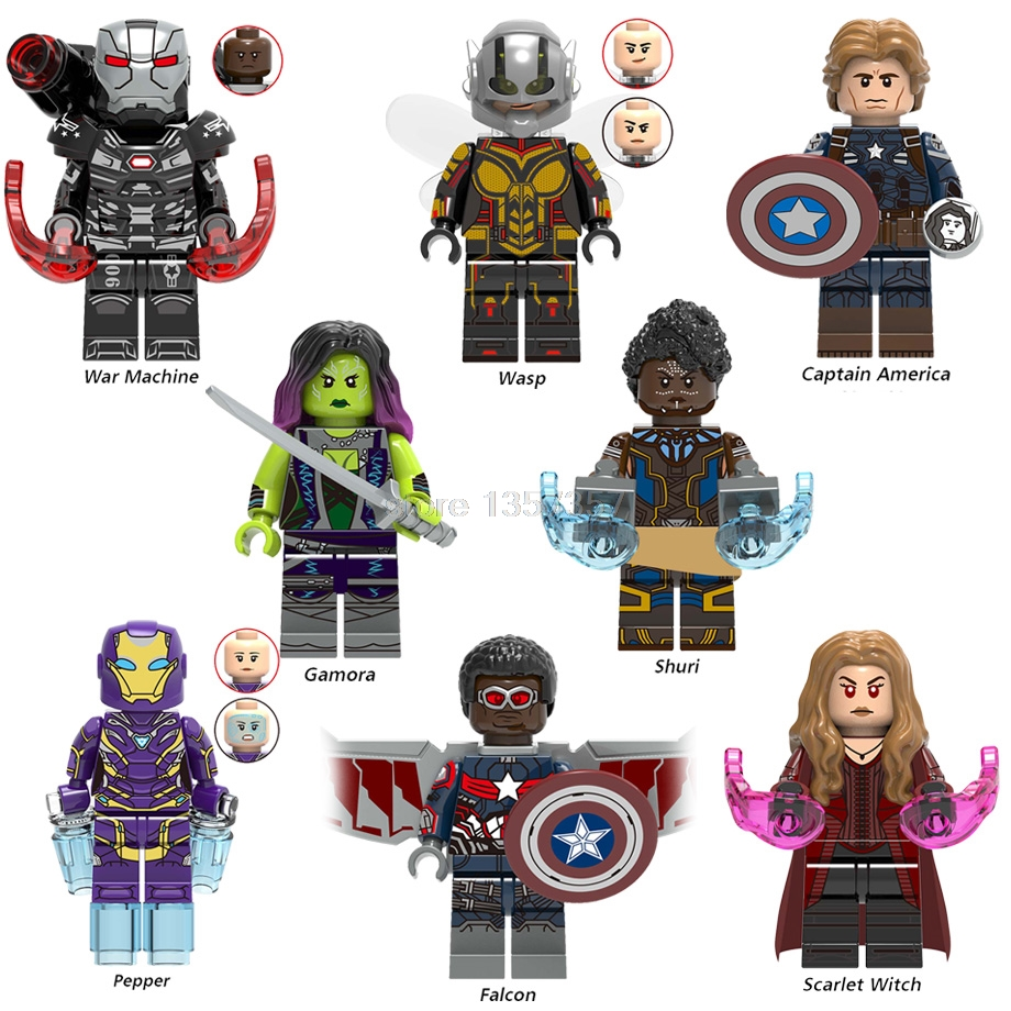 Marvel Avengers 4 Endgame Super Hero Figure Scarlet Witch Gamora Wasp Falcon Building Blocks Brick Toys Legoing X0263