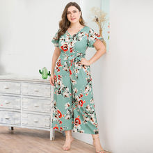 Women's Plus Size V-Neck Short-Sleeved Jumpsuit Sashes Bohemian Print Wide-Legged Jumpsuit Spring Casual Jumpsuit Combinaison(China)