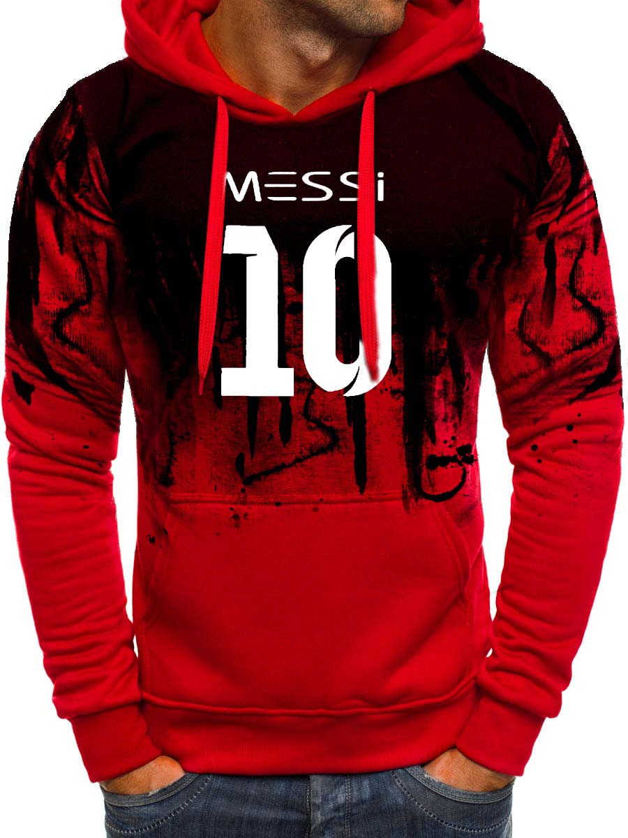 Messi Men Gradient Hoodie Men Messi 10 Print Sportwear Men Hoodies Sweatshirts Coat Slim Fit Hoody Harajuku Hooded Tracksuit