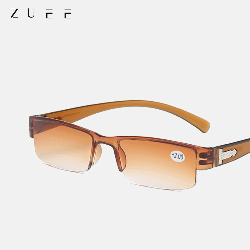 Zuee moda coreana óculos de leitura das mulheres dos homens lente clara meio quadro presbiopia eyewear 1.0 1.5 2.0 2.5 3.0 3.5 4.0 para o leitor
