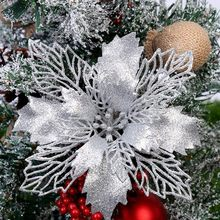 Christmas Tree Ornaments Christmas Simulation Flower Xmas Ornament 5Pcs Wedding Artificial flowers Valentine's Day Decoration(China)