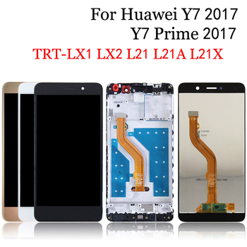 100% Tested For Huawei Y7 2017 TRT-LX3 TRT-LX1 LCD Display Touch Screen Digitizer Assembly With Frame For y7 prime 2017 lcd image