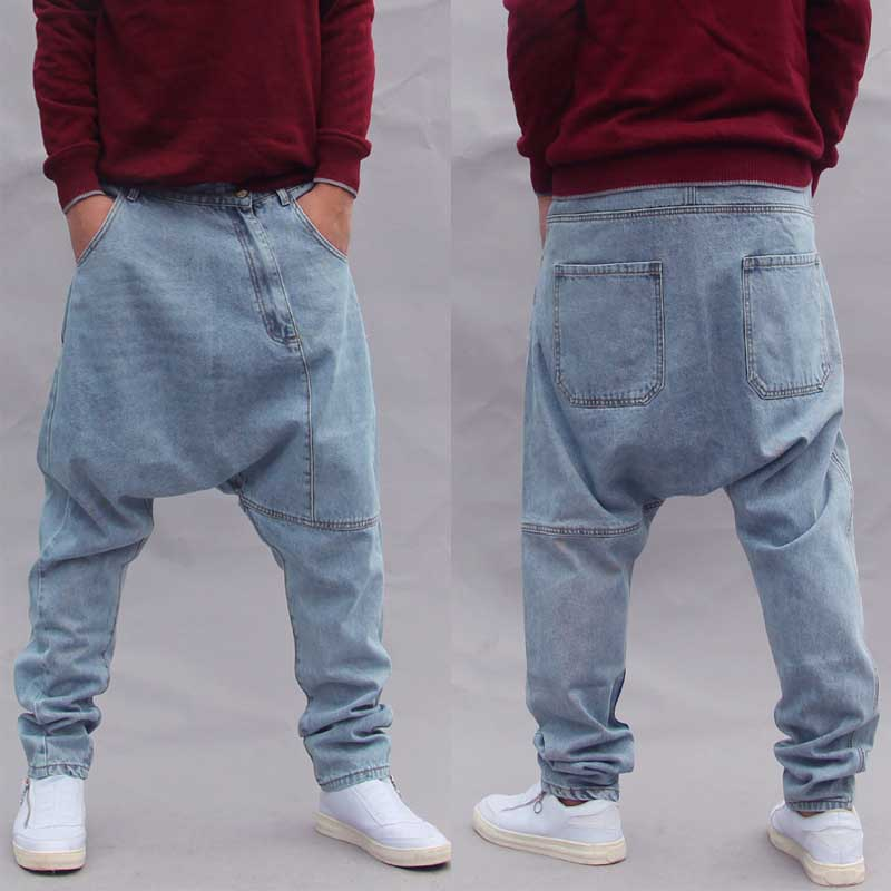 Fashion Loose Baggy Harem Jeans Men Casual Denim Pants Streetwear Hip Hop Jeans Pants Drop Crotch Blue Trousers Man Clothing