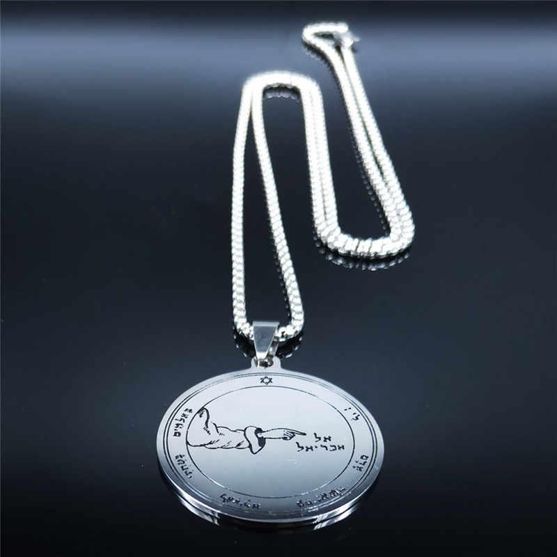 Amulet talizman Wicca pentagram jowisza Saturn słońce naszyjnik ze stali nierdzewnej Making Vintage Solomon Seal mężczyzn biżuteria N4012S03