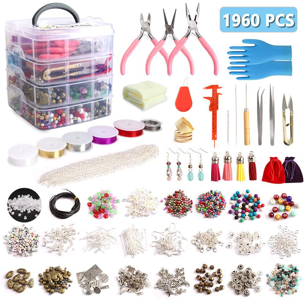 1960pcs+ Beads Tools Findings 3 Floor Storage Box Large Jewellery Making Starter Kit