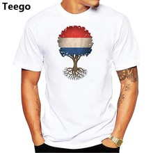 Fashion 2018 brand T-shirt men's summer short sleeve Netherlands Flag T-shirt with print street wind popular men's T-shirts Tops(China)