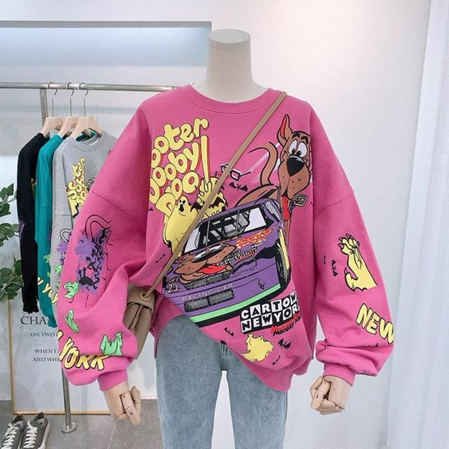 Women Hoodies Autumn 2020 Funny Cartoon Car & Dog Print Sweatshirt Oversized Streetwear Sweatshirts Hip Hop Cool Pullover Tops 1