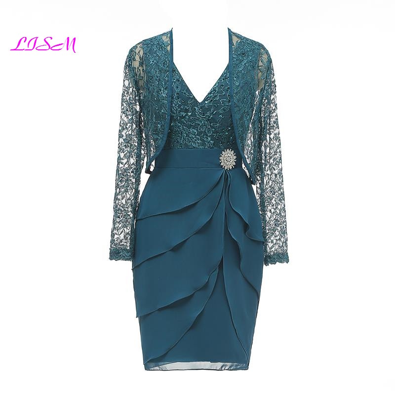 V-neck Glitter Lace Formal Evening Mother Of The Bride Crepe Dress With Jacket Elegant Applique Chiffon Knee Length Party Gowns