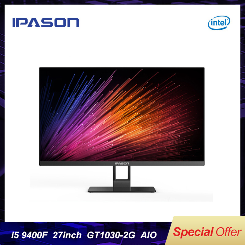 IPASON Mover X 27-inch Ultra-thin All-in-one Computer 9th Gen Intel I5-9400F DDR4 8G RAM 480G SSD GT1030-2G Gaming Desktop PC