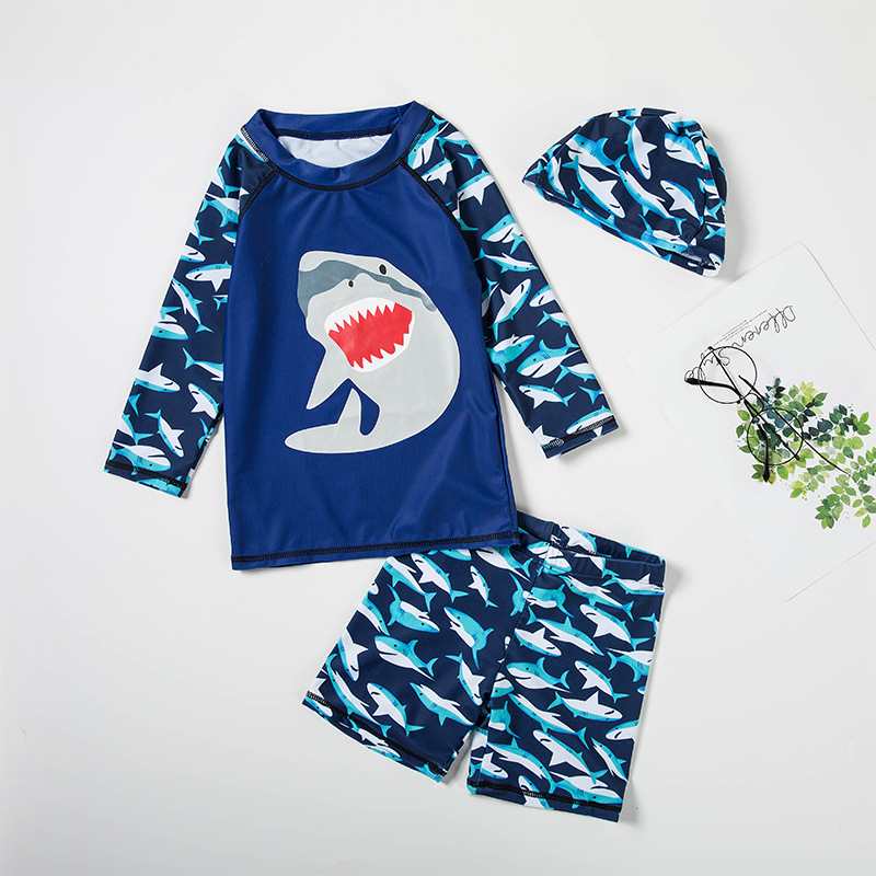 CHILDREN'S Long-sleeve Swimsuit Boy South Korea INS Baby Split Type Quick-Dry Coat BOY'S Students Swimming Trunks Surfing Suit
