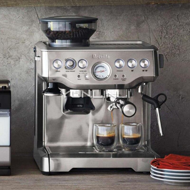 Espresso Coffee Maker Grind Beans Semiautomatic 15Bar Grinder Steam Coffe Machine 4