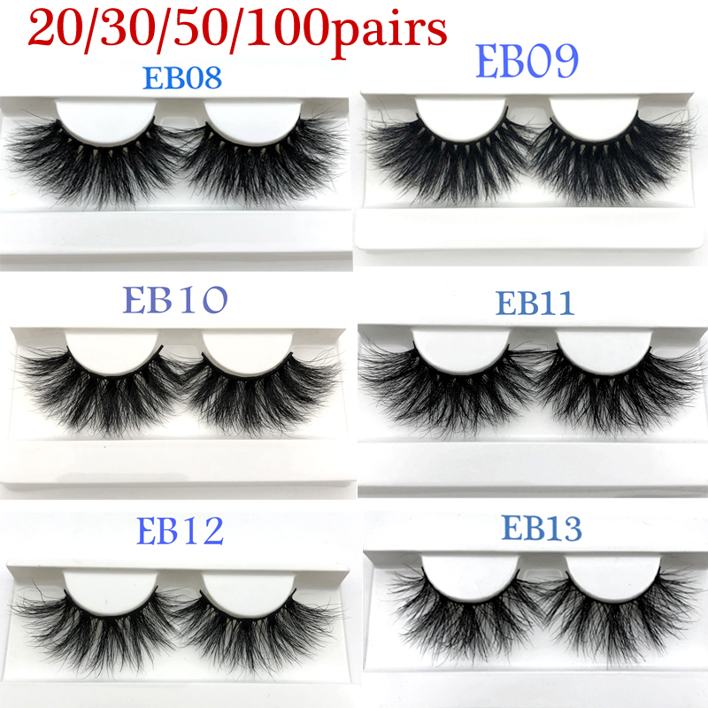 Luxury 25mm Real Mink Lashes Wholesale 3D Mink Eyelash Natural Long 20/30/50/100pairs Handmade Mink Fur Lashes