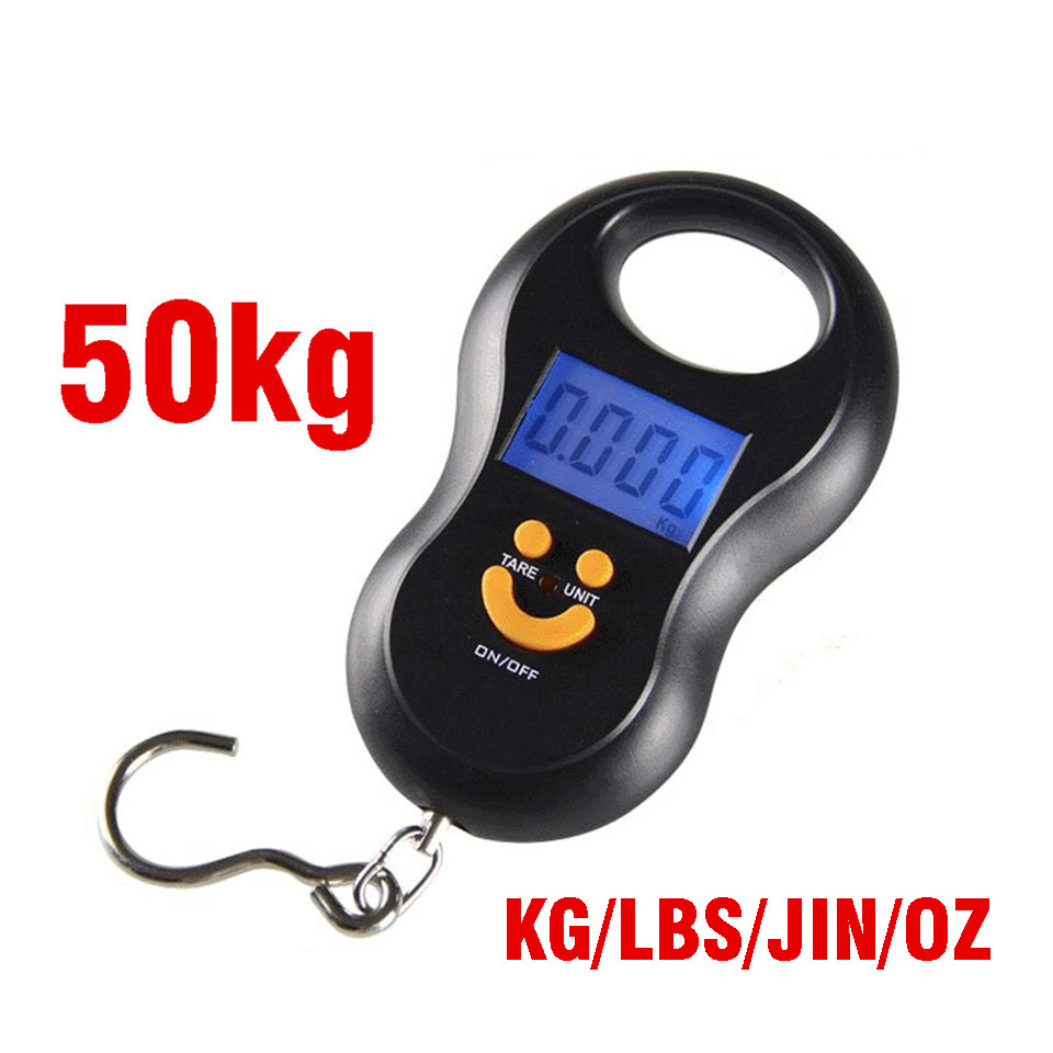 50Kg Portable Hook Scale Kitchen Small LCD Electronic Digital Hanging Weight Food Scales Travel Handheld Weighing Mini Steelyard