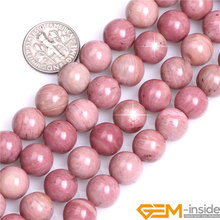 цена Round Smooth Rhodochrosite Beads Natural Stone Beads DIY Beads For Jewelry Making Wholesale! Strand 15