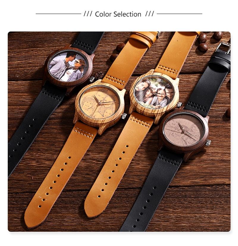 Accept Photo Personalized Customized Printing Your Photo Men Watch Unique Bamboo Wood Quartz Wristwatch Creative Souvenir Gifts 2020 2021 BOBO BIRD (4)