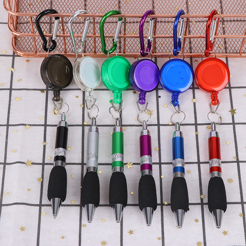 Heavy Duty Retractable Pen Pull Holder Reel Pen Carpenter Pencils Anti Lost Rope Key Ring Chain Belt Clip Carabiner Tools
