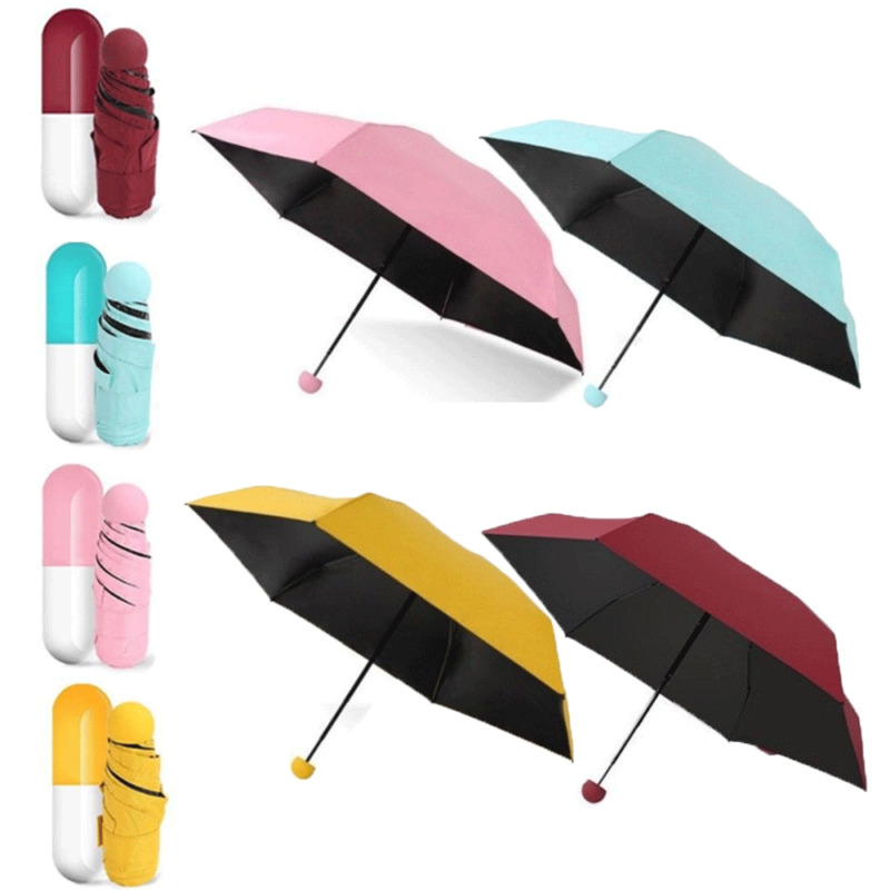 Portable Cute Mini Folding Capsule Umbrella With Pill Package Box Pocket Parasol Rain Anti-UV Travel Umbrella Sunny Rainy Day