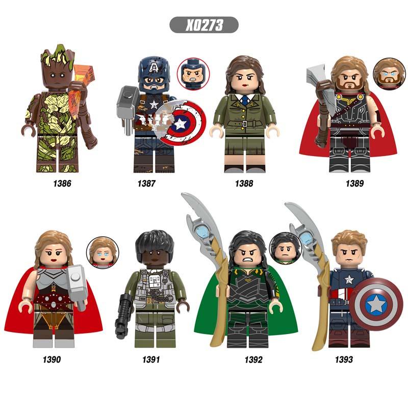 Single Avengers Endgame Odin Captain America Peggy Carter Thor Loki Jane Foster Monica Rambeau IronMan Building Blocks Kids Toys