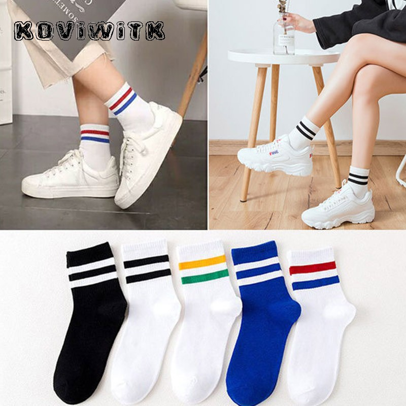 Women\x27s Striped Cotton Socks Stylish Casual White Winter Breathable Short Blend Elastic Warm Wear Resistant Lady Thermal Sox