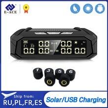 Sistema de supervisión de presión de neumáticos TPMS para coche E-ACE, pantalla automática, alarma, monitoreo, carga USB, alerta de temperatura con 6 sensores