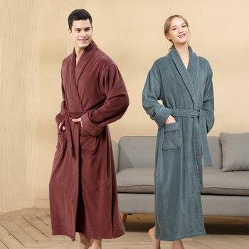 Solid Lengthen Robe Men Women Winter Toweling Terry Cotton Bathrobe Soft Ventilation Sleeprobe Casual Keep Warm Homewear - discount item  45% OFF Women's Sleep & Lounge
