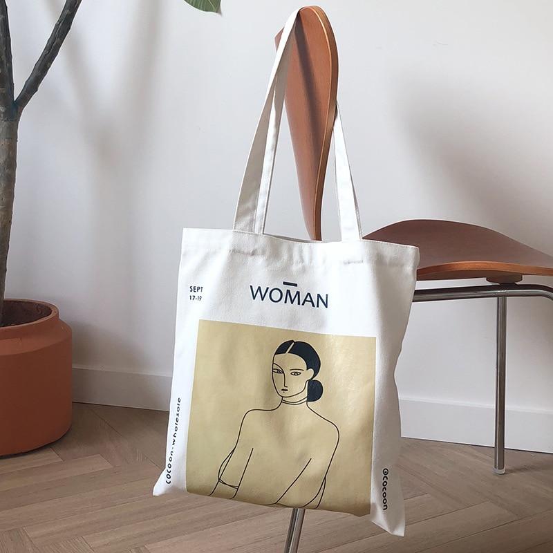 2019 Ladies Handbags Cloth Canvas Tote Bag Cotton Shopping Travel Women Eco Reusable Shoulder Beach Shopper Bags Bolsas De Tela
