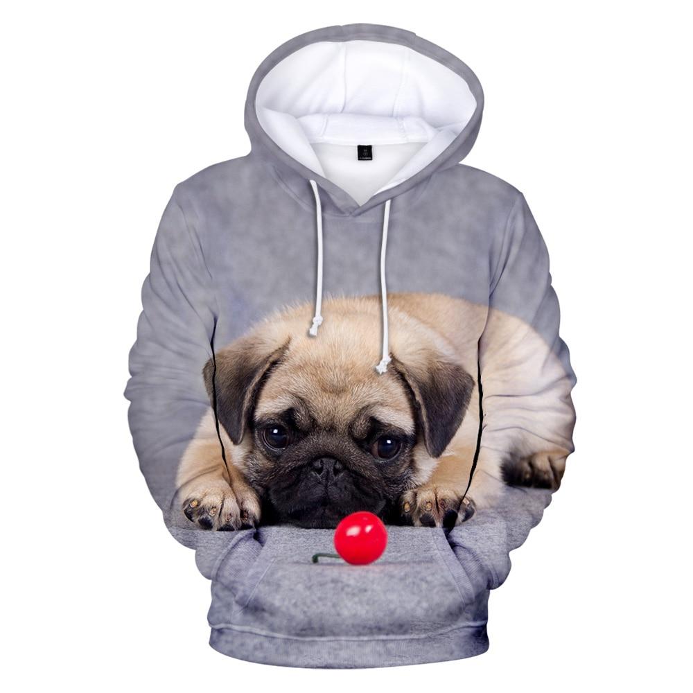 Fashion 3D Pug Hoodies Men Women Sweatshirts Harajuku Hoodie Pullover Hot Autumn 3D Pug Hooded Casual Boys Girls Streetwear