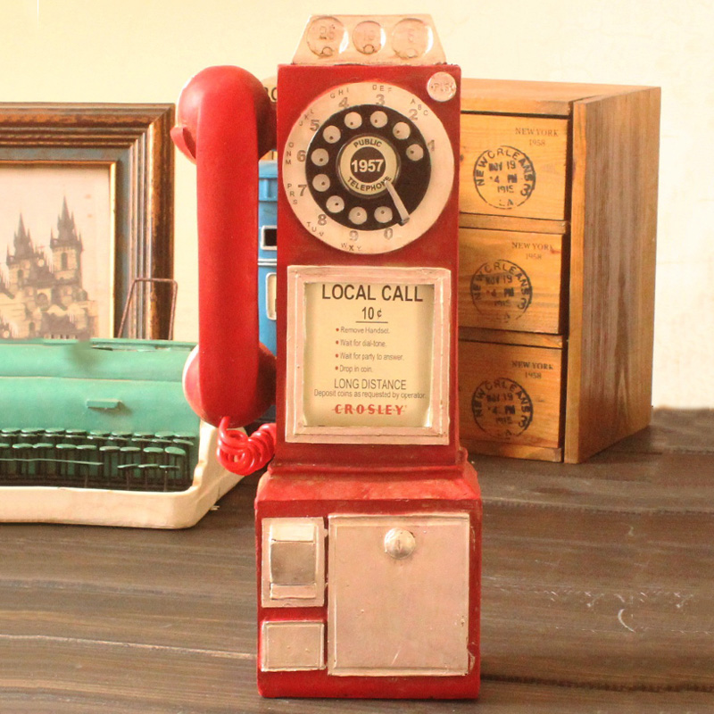 Vintage Rotate Classic Look Dial Pay Phone Model Retro Booth Home Decoration Ornament DIN889