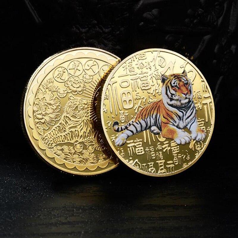 2022 оригинальная памятная монета на новый год Тигра из Китая, коллекция биметаллических монет, китайские зодиаки, украшения для года тигра