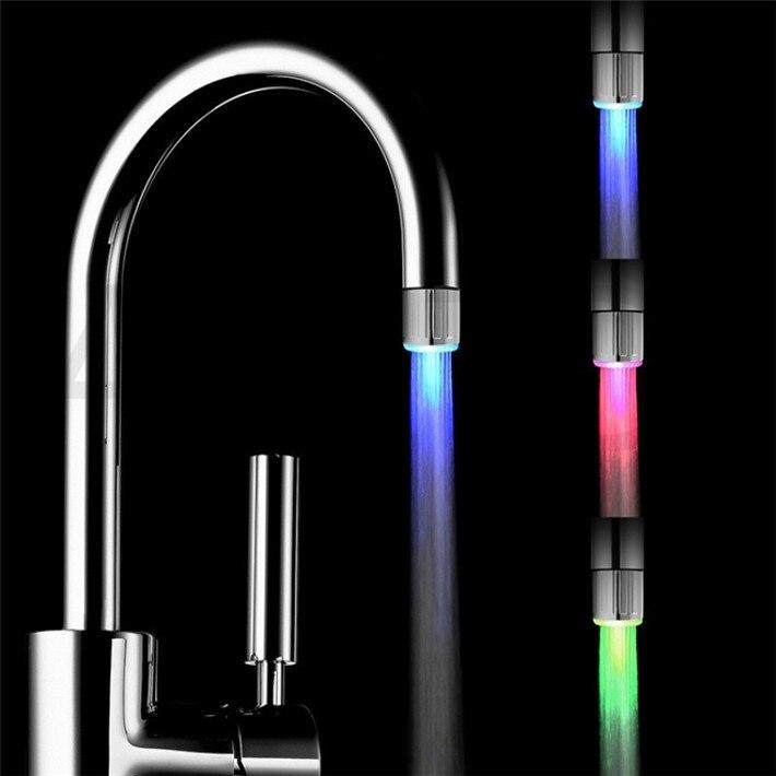 LED Faucet Streaming Lamp 7-color Variable Light Shower Faucet Pressure Sensor Bathroom Temperature Kitchen Accessories