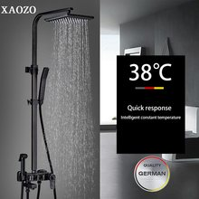 Bathroom Brass Shower Set Black ORB Antique Rain Head Bath Shower Mixer with Hand Shower Faucet Rainfall Mixer thermostatic