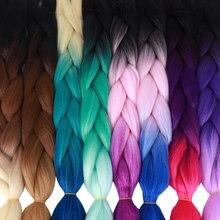 24 дюйма пучки кос-жгутов Длинные Синтетические Омбре плетение волос крючком оплетка 100 г/упак. черный розовый синий серый наращивание волос