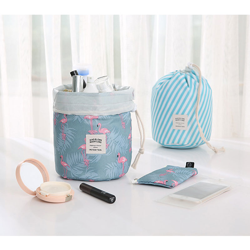 Flamingo Fashion Cosmetic Drawstring Pouches Lady Toiletries Washes Kit Travel Draw String Bag