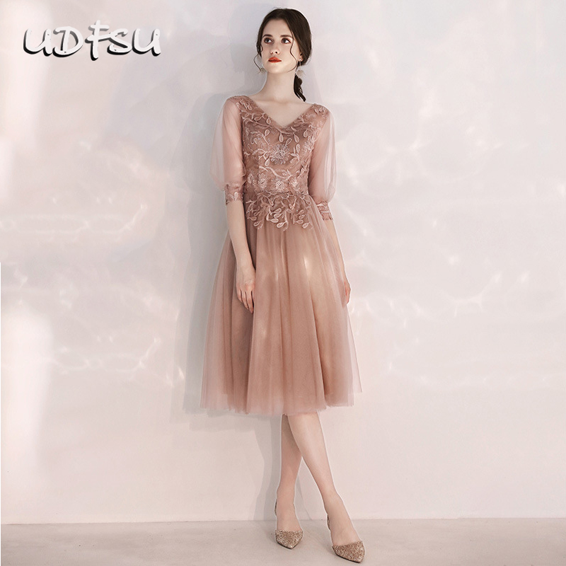 UDFSU Women Vintage Tulle Evening Dress Elegant Appliques Knee Length A-Line Gowns Bridesmaid Dresses Prom Gown Coffee Pink