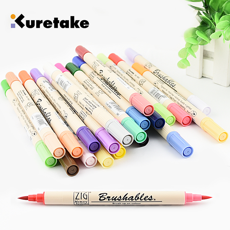 1pc ZIG Kuretake MS-7700 Double Colors Marker Watercolor Brush Pens Waterproof BRUSHABLES Painting Twin Tip Dark & Light Single