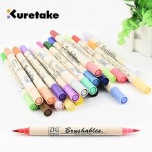 ZIG Kuretake – MS-7700 marqueurs Double couleurs, imperméable, pinceaux à Double pointe, pour peinture, simple, sombre et clair, 1 pièce