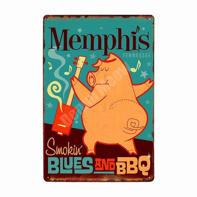 DADS BBQ meilleure viande rétro Plaque décor mural pour Pub cuisine maison Grill Menu Vintage métal signes gril temps affiche Plaque N075
