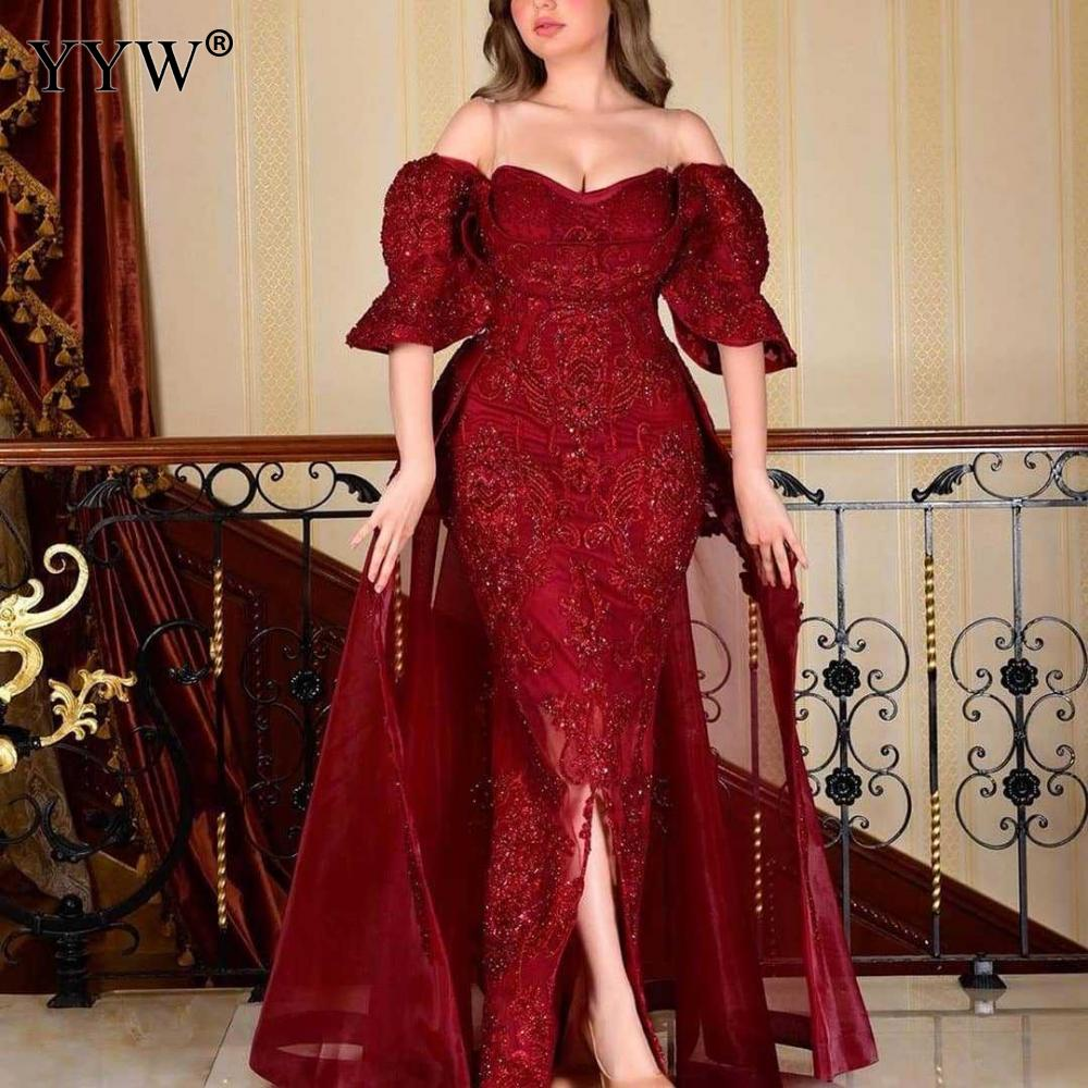 Women Evening Party Dress Red Vestidos Long Dress Sexy Party Dresses Ruffles Off Shoulder Plus Size Women Dresses 2