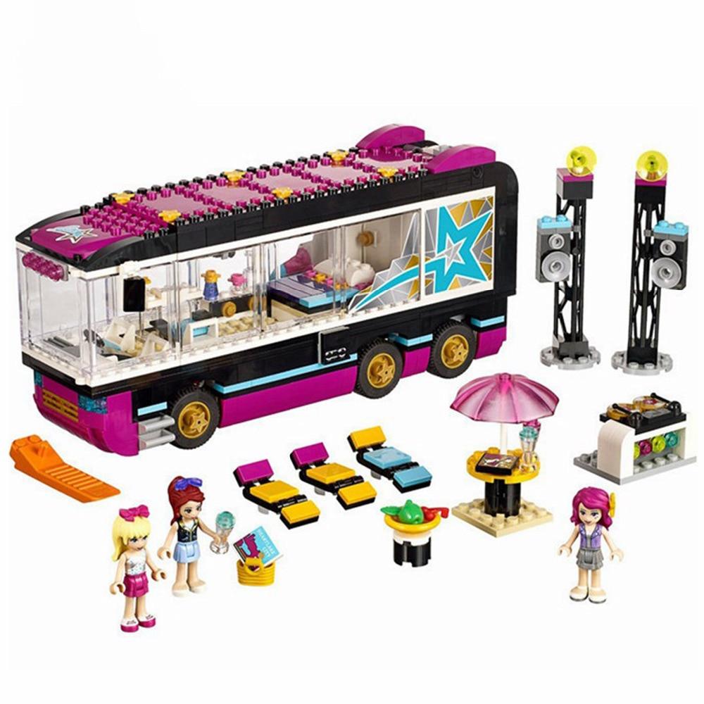 684 Pcs 10407 Friends Pop Star Tour Bus Building Blocks 41106 Lepining Friends Figures Bricks Toys for Children Model Toy Gift