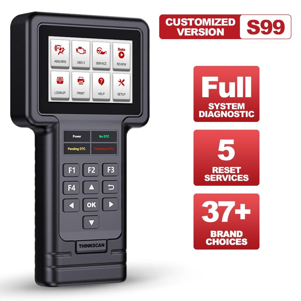 ثينك كار ثينك مسح S99 نظام كامل تشخيص الماسح الضوئي رمز القارئ لتقوم بها بنفسك أي شخص سيارة OBD2 النفط/الفرامل/SAS/ETS/DPF إعادة تعيين أداة تشخيصية